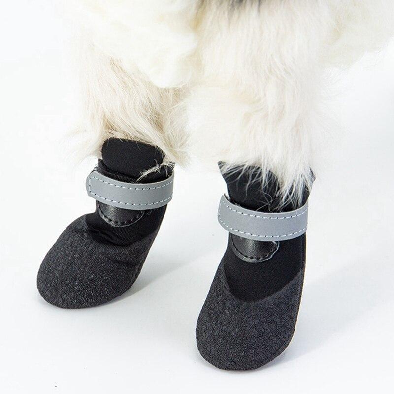4 Uds. Zapatos impermeables para perros Botas de lluvia reflectantes para perros pequeños medianos botas de invierno calientes para la nieve para cachorros antideslizantes calcetines para perros