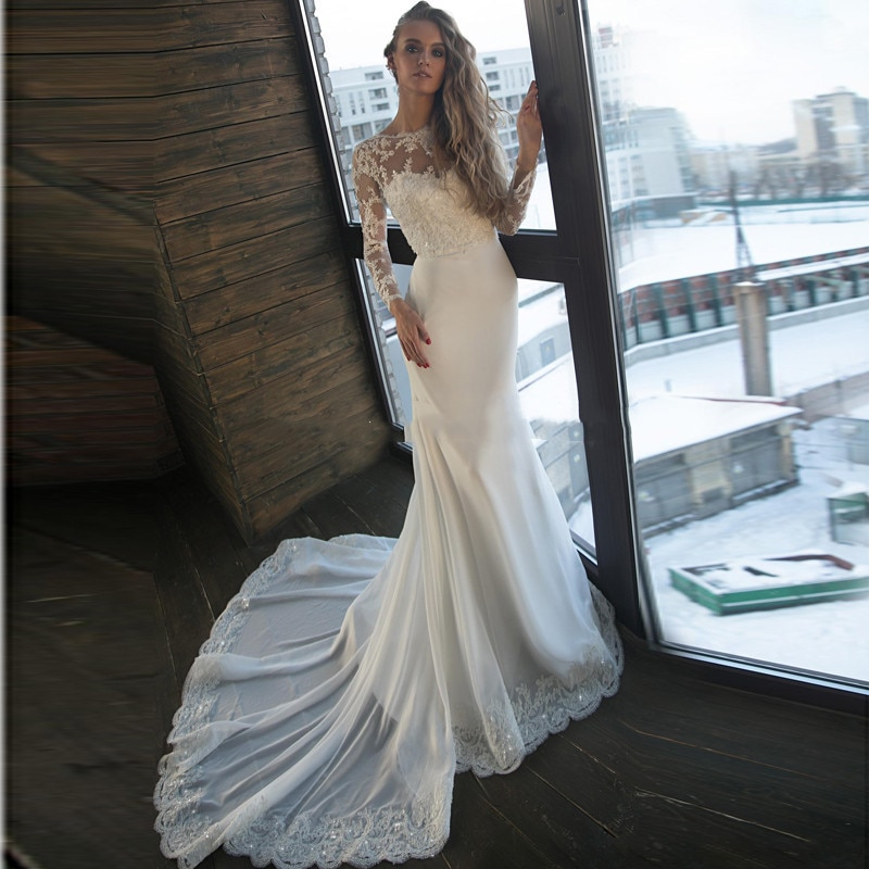 Long Sleeves Scoop Lace Appliques Wedding Dress Sequins Backless Customized Simple Chiffon Bridal Gowns 2021 Formal Slim Robe недорого