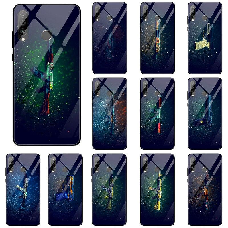 Casos de telefone de vidro temperado para huawei honor 6x 8 8a 9 10 p20 p30 mate 20 y6 y9 lite pro escudo csgo armas de fogo borracha