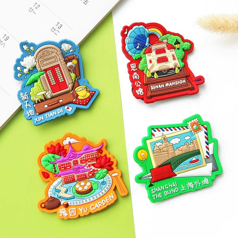 3D Three-dimensional Refrigerator Sticker Shanghai City Tourism Commemorative Soft Magnetic Stickers Decorative Message Stickers south african tourism memorial tree leopard refrigerator