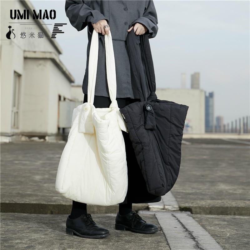 UMI MAO Winter Niche Yamamoto Dark Design, Lazy Large-capacity One-shoulder Messenger Cotton Bag