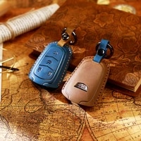 car key case suitable for cadillac key bag leather hand sewn car key cover crazy horse leather key case