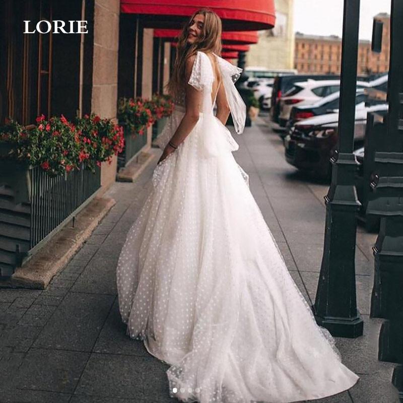 LORIE A خط دوت تول فساتين الزفاف منتفخ تول الأميرة فساتين زفاف مثير عارية الذراعين بوهو فساتين الزفاف حجم كبير