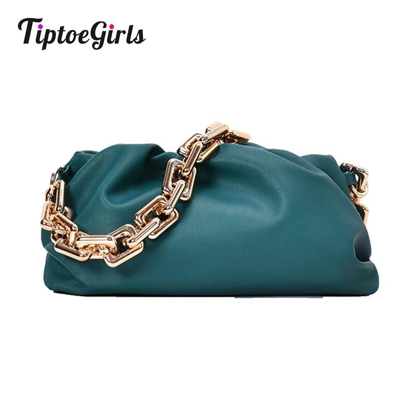 Tiptoegirls cadeias bolsa feminina ombro macio bolso mujer plissado bolsa de mensageiro de couro moda correntes ousadas crossbody bolsa feminina