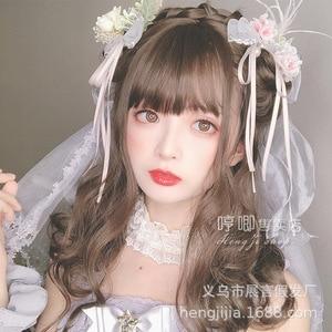 "Heng Ji Lolita Harajuku Soft Sister ""Milaber"" Black Long Roll Ji Hair Double Ponytail Female Lolita Wig  sweet loli wig"