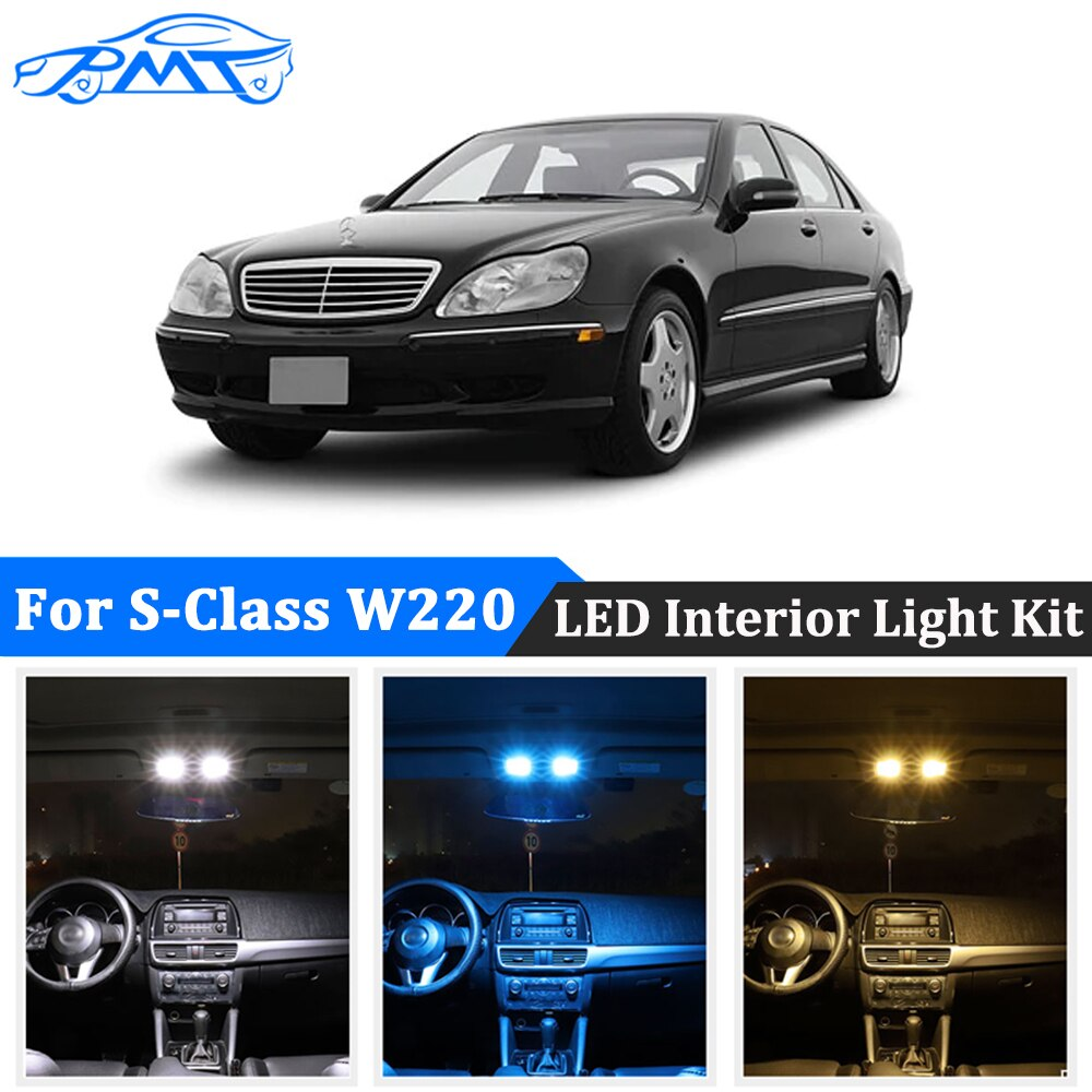 BMT 25 uds para Mercedes Benz Clase S W220 (1999-2005) Canbus LED espejo de tocador Interior lámpara de placa de matrícula