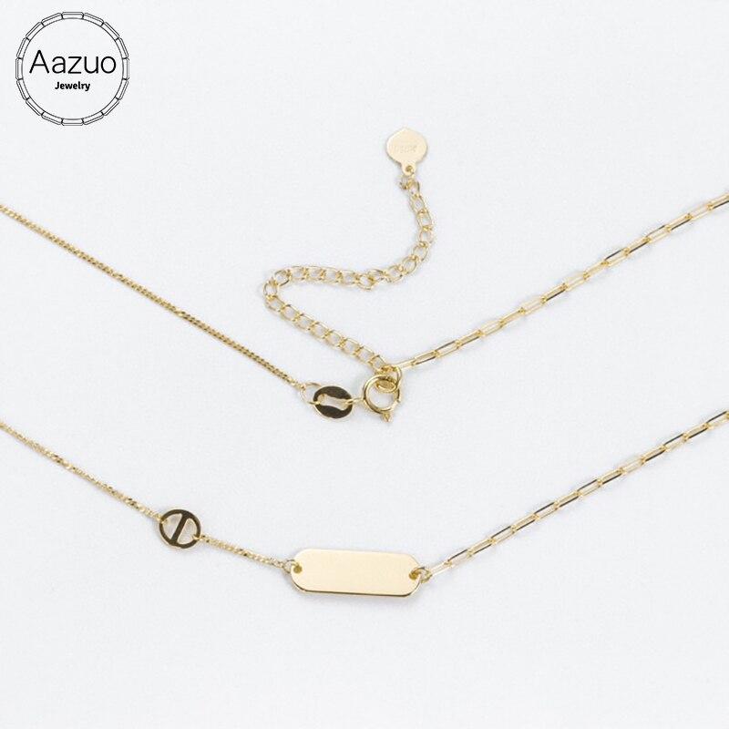 Aazuo-عقد مستطيل من الذهب الأصفر عيار 18 قيراطًا للنساء ، مجوهرات أنثوية شهيرة ، عصري للغاية ، Au750