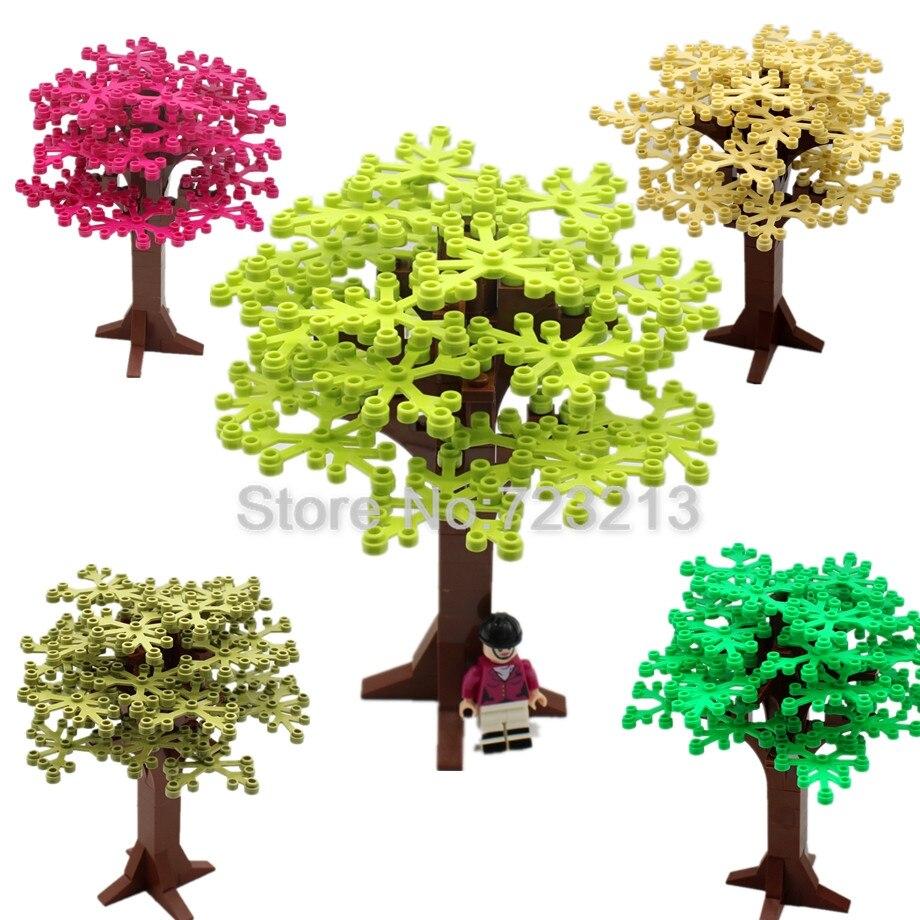 Feleph venta única 16cm árbol planta hierba partes bloques de construcción MOC accesorios escena ladrillos modelo juguetes educativos niños