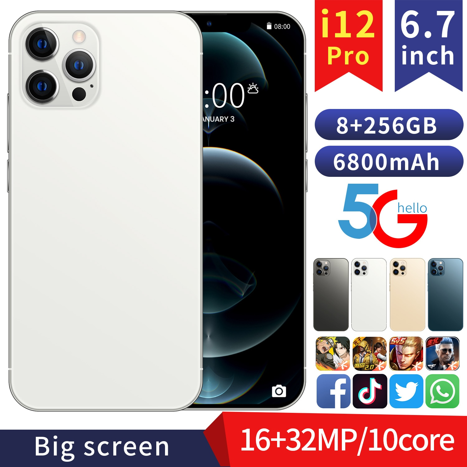 Global Version 6.7'' FHD i12Pro Phone 8GB 128GB/256GB MTK6889 Deca Core Display Smartphone 6800mAh Fast Charge 32MP Three Camera