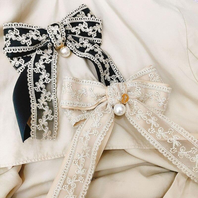 2020 coreano corte estilo duplo-camada bordado laço arco primavera clipe temperamento moda menina feminino barrettes acessórios de cabelo