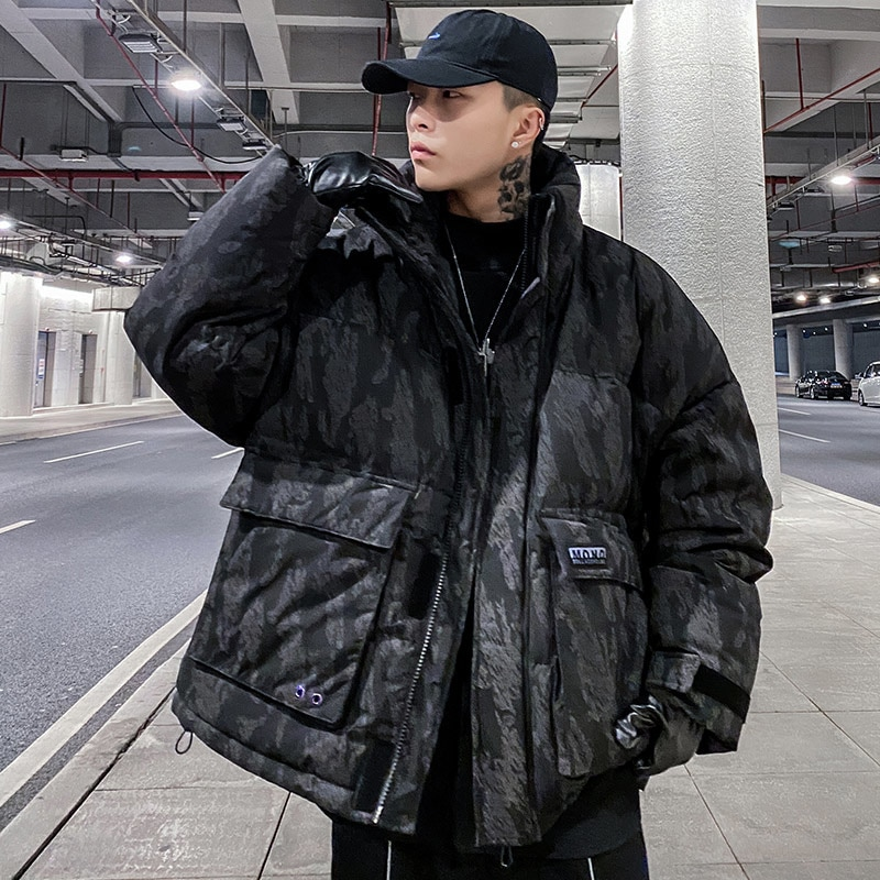Original tide brand color-changing down jacket men's 2021 winter new coat letter printing loose down jacket