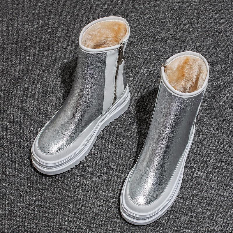 Botas de ballet de invierno para niñas, zapatos de terciopelo abrigados para mujer, zapatos plateados de punta redonda gruesa, botas informales para mujeres