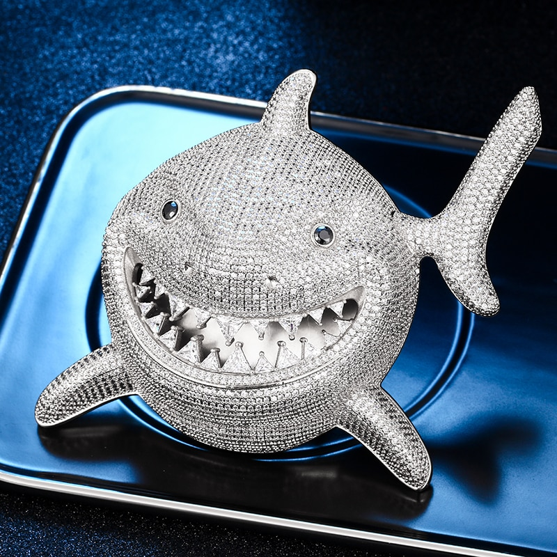 High Quality Over Size Iced Out Shark Pendant Necklace Full Bling CZ Stone For Men Hip Hop Jewelry Cubic Zirconia Animal Pendant