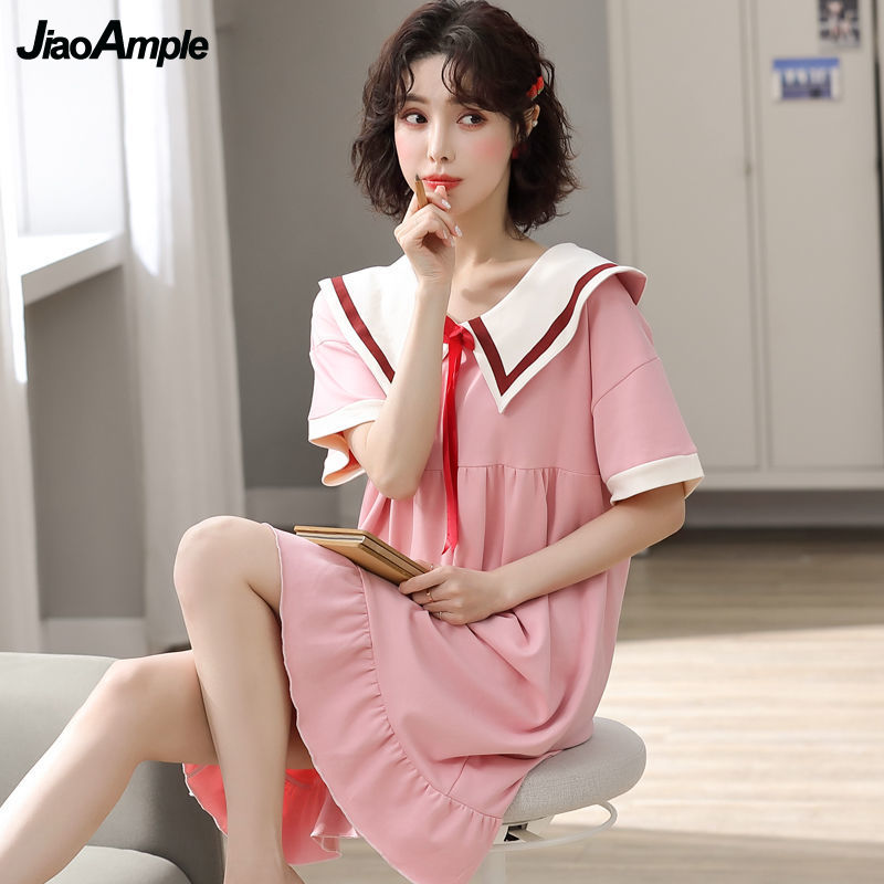 Summer Women Nightdress 2021 New Cute Pure Color Cotton Pajamas Girls Thin Loose Short Sleeve Sleepwear Sexy Lingerie Nightgown suspender nightdress women s summer thin pure cotton lovely little girl s nightdress summer cartoon print dress sub panel plaid
