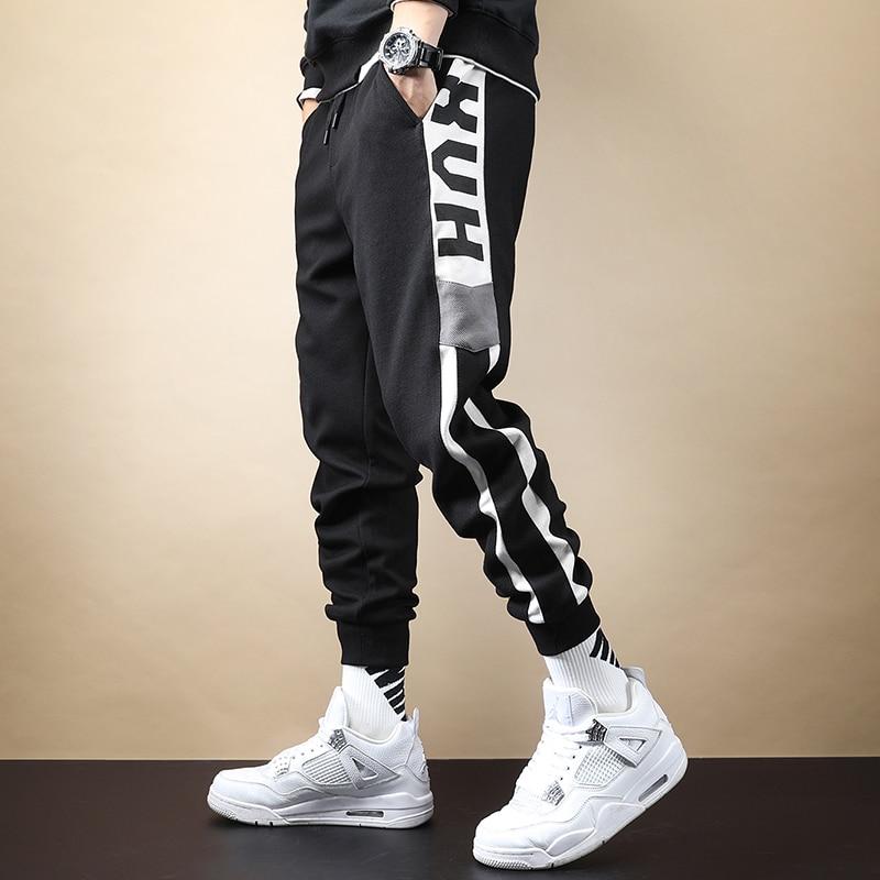 Модные мужские спортивные штаны осень-зима спортивный костюм для бега свободного кроя с эластичной резинкой на талии Штаны на шнурке