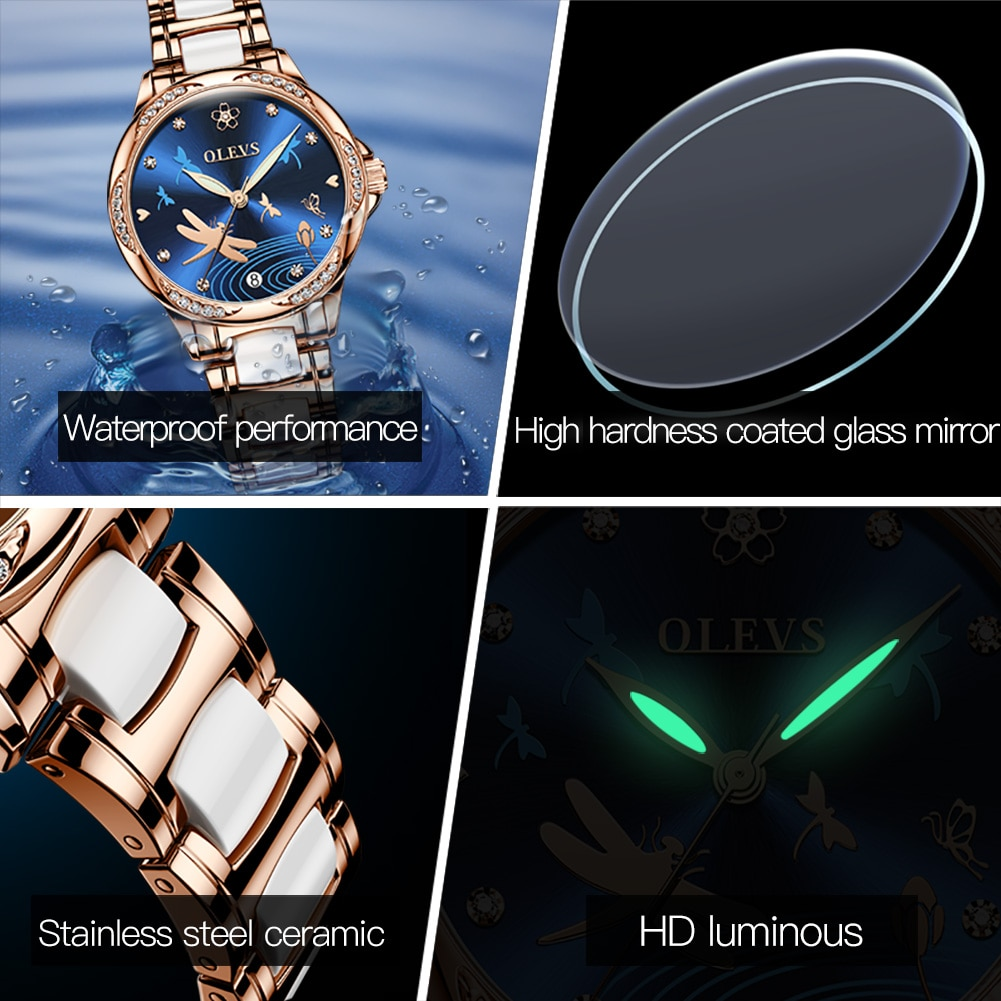 OLEVS New Fashion Mechanical Women Watches Top Brand Luxury Rose Gold Stainless Steel Ceramics Strap Automatic Ladies Watch 6610 enlarge