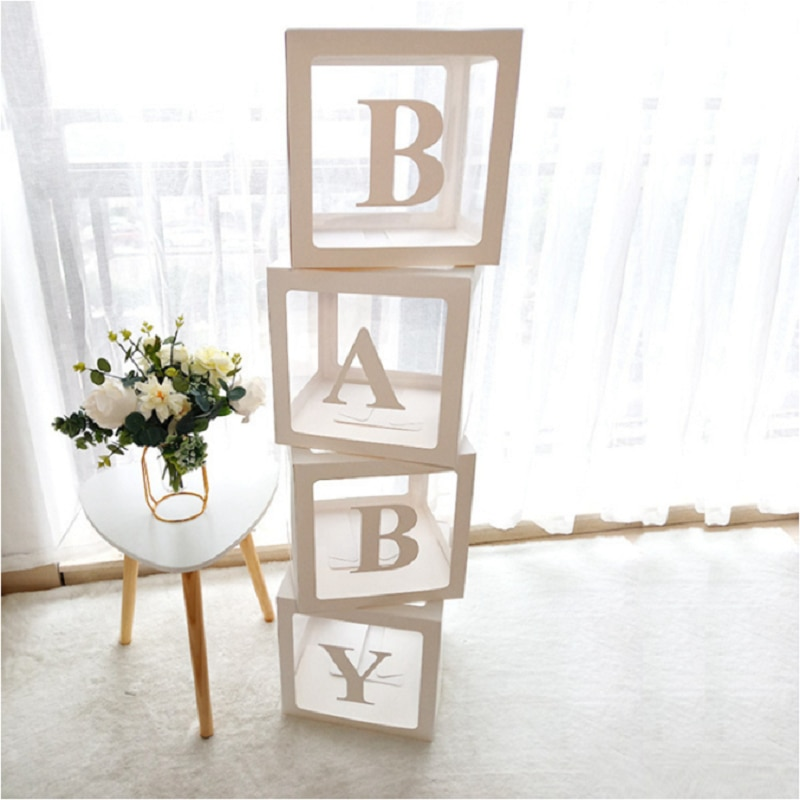 Staraise Transparent Letter A-Z Box Custom Baby Name Balloon Box Girl Boy Baby Shower Decorations Ba