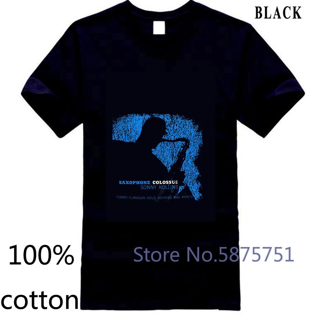 Sonny Rollins estampado gráfico negro Retro Jazz música artista 4-A-166 hombres marca camiseta de los hombres tops camisetas 100% algodón