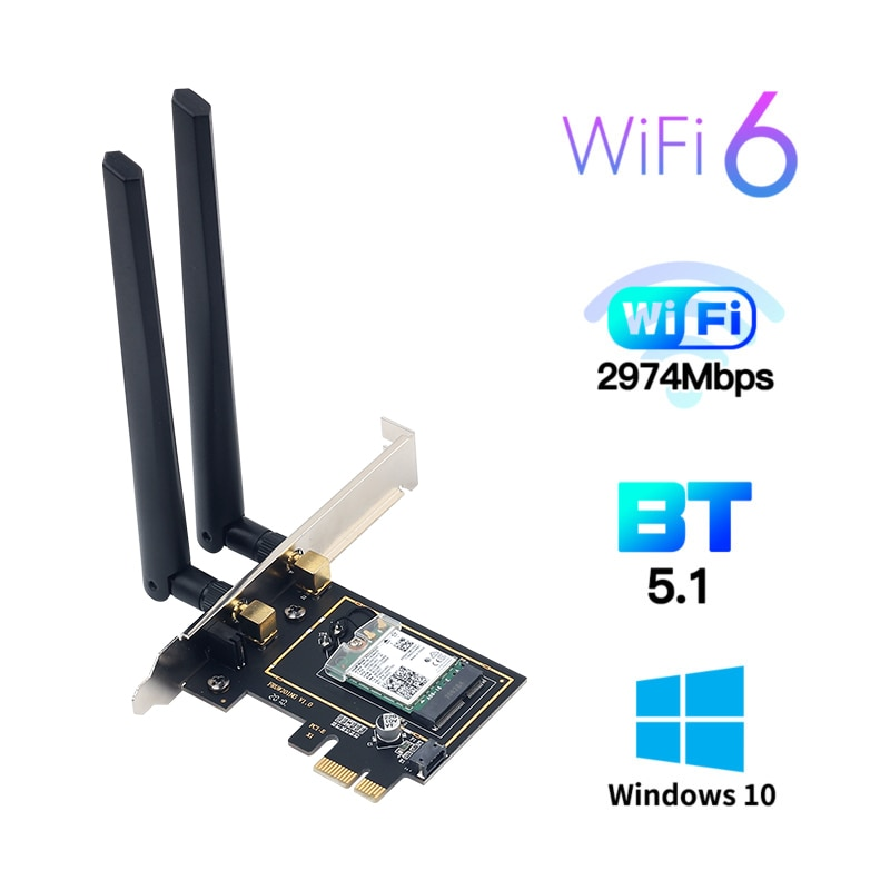 3000Mbps واي فاي 6 سطح المكتب PCIe واي فاي محول إنتل AX200 لبلوتوث 5.1 802.11ax ثنائي النطاق 2.4G/5Ghz PCI اكسبرس بطاقة لاسلكية