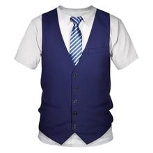 Divertente abito falso t-shirt 3D smoking papillon t-shirt stampate in 3D uomo estate moda manica corta Streetwear abito falso gilet Tshirt