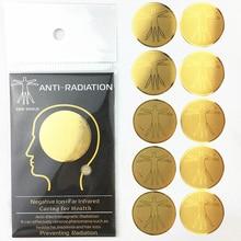 10 Uds. Pegatina protectora antiradiación para teléfono móvil, fácil de aplicar, adhesivo autoadhesivo Universal chapado en oro de 24k, bloqueador redondo EMF