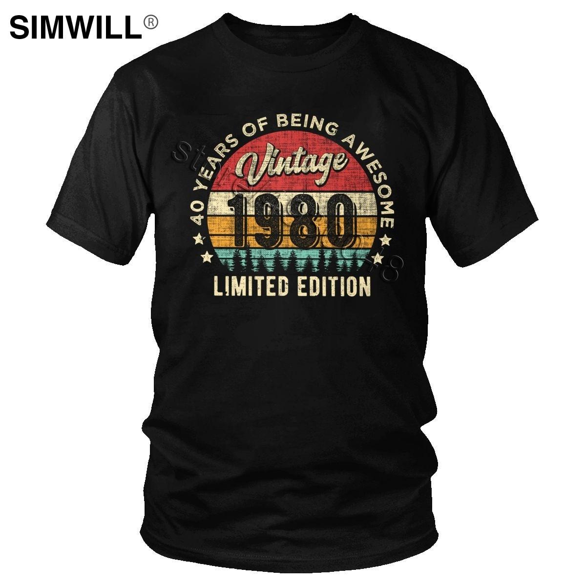 Vintage 1980 40 años de edad impresionante 40th cumpleaños camiseta hombres algodón 80s Tees Retro de manga corta guapo camiseta al por mayor regalo