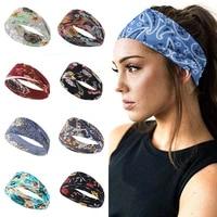 floral print knot women sports yoga headband elastic narrow side cross headband breathable thin comfortable hair accessories new