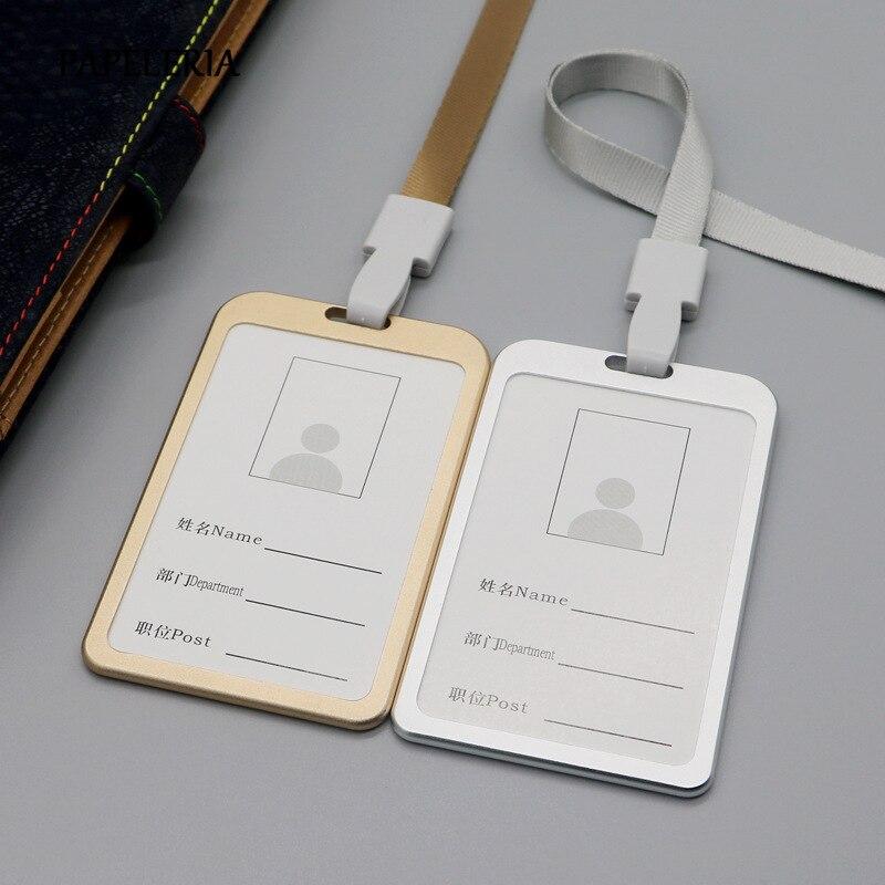 Sujetadora de tarjetas de identificación de Metal suministros de empresa de oficina soporte de tarjeta de autobús de trabajo insignia de aleación de aluminio con cubierta de tarjeta de cordón
