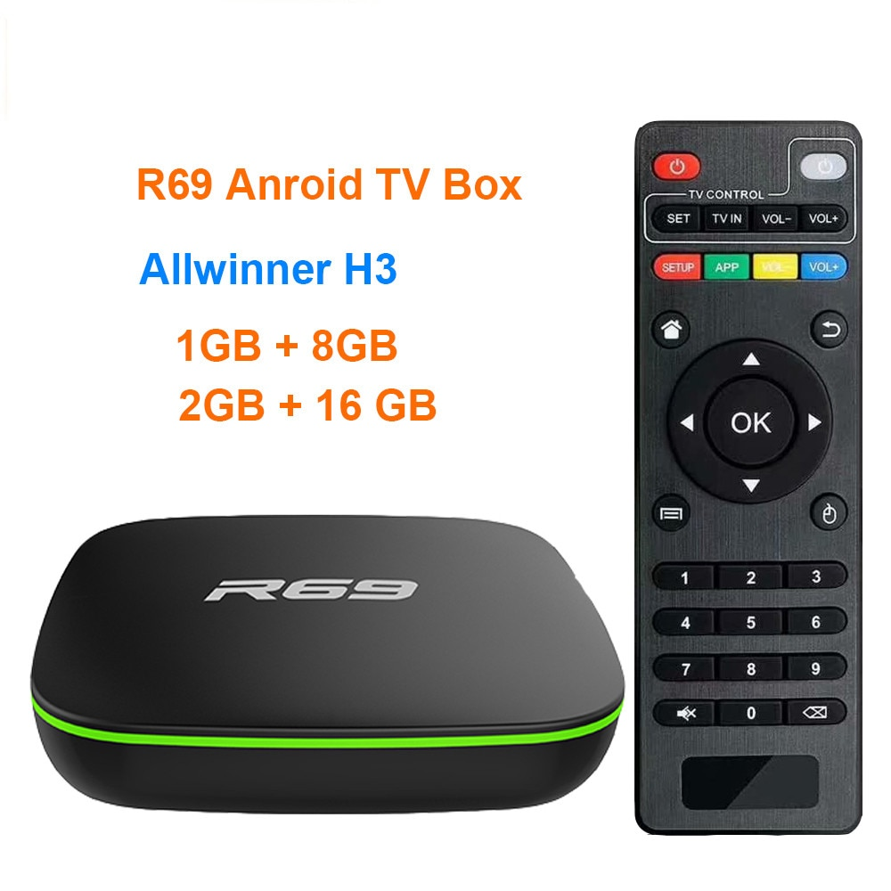 ТВ-приставка R69 с Android 7,1, четырехъядерный Allwinner H3, 1G8G, 2G16G, 2,4 ГГц Wi-Fi, 1080P HD, домашний смарт-медиаплеер, ТВ-приставка