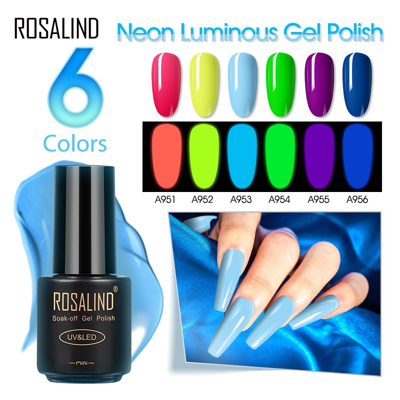 ROSALIND Neon Gel Polish Luminous Nail Polish Manicure Top Base Gel For Nails Art Vernis Semi Perman