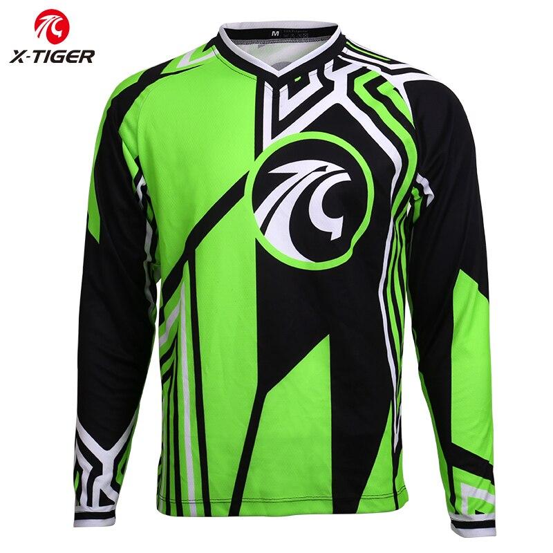 X-Tigre Camisa Da Bicicleta DH Downhill Jerseys Camisa de Manga Comprida Camisa Mountain Bike Racing Sports Wear 100% Poliéster Ciclismo jerseys