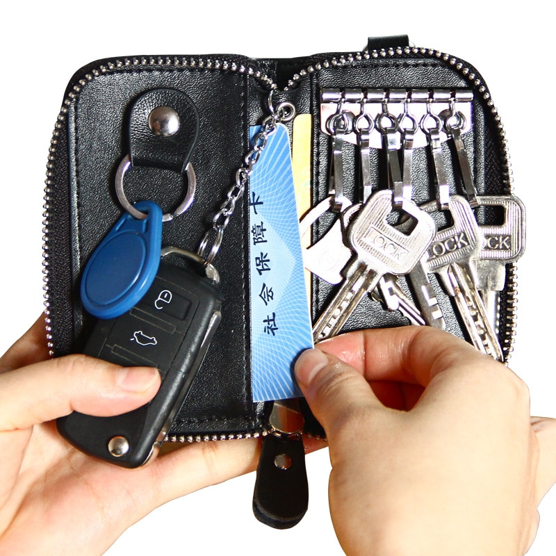 Мужская кожаная сумка для ключей на молнии, многофункциональная сумка для автомобильных ключей, деловая сумка для автомобильных ключей