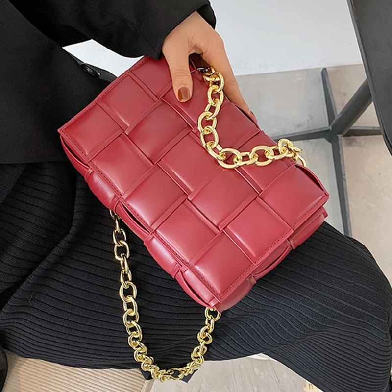 Woven Flap Crossbody bag 2020 Fashion New High quality PU Leather Women's Designer Handbag Chain Tote Shoulder Messenger Bag