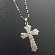 Vintage croix pendentif collier hommes femmes en acier inoxydable longue chaîne collier ethnique prière écriture croix pendentif rétro bijoux