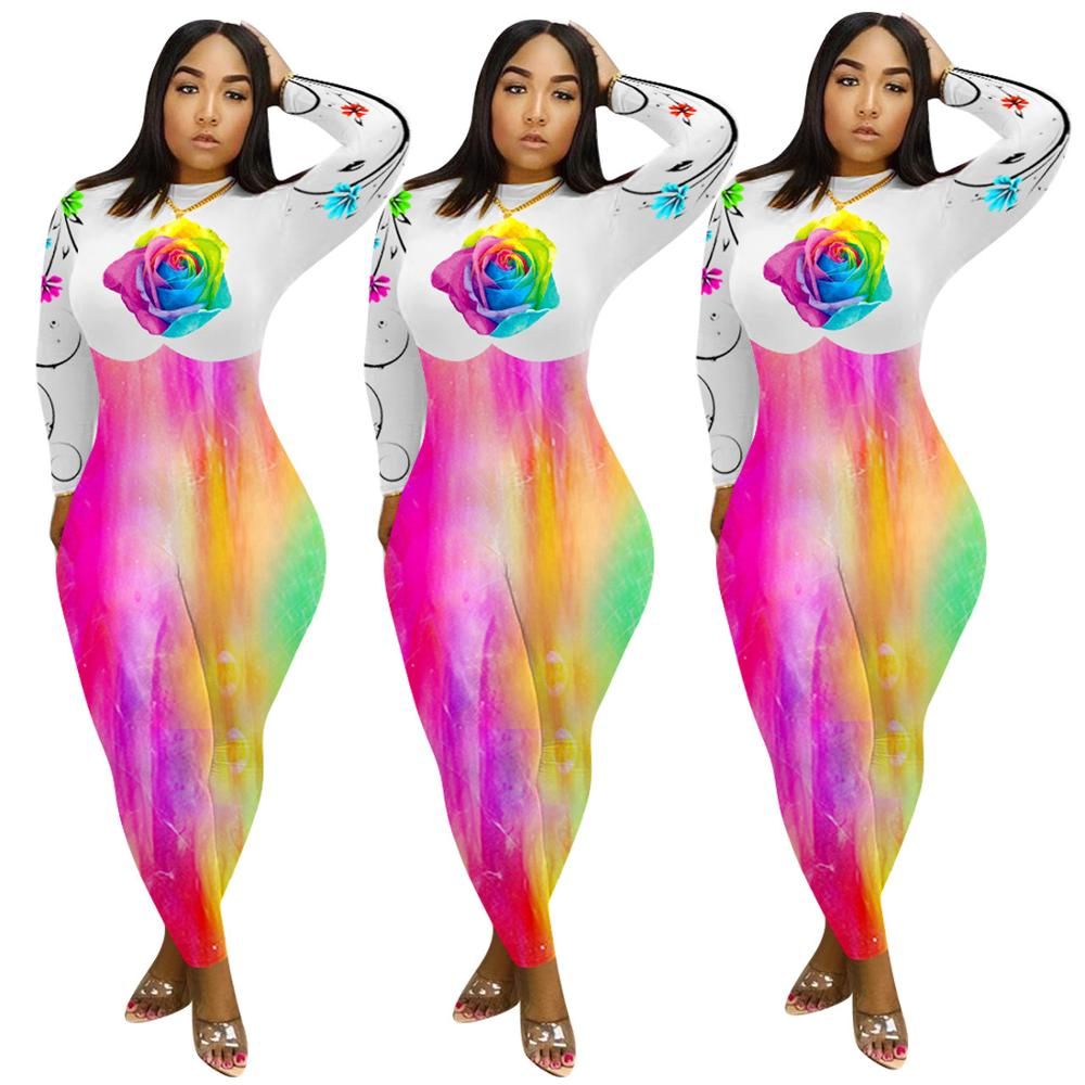 Adogirl Women Floral Print Tie-Dye Jumpsuit Romper Long Sleeve Zipper Bodycon Playsuit 2020 Casual Fashion One Piece Bodysuit