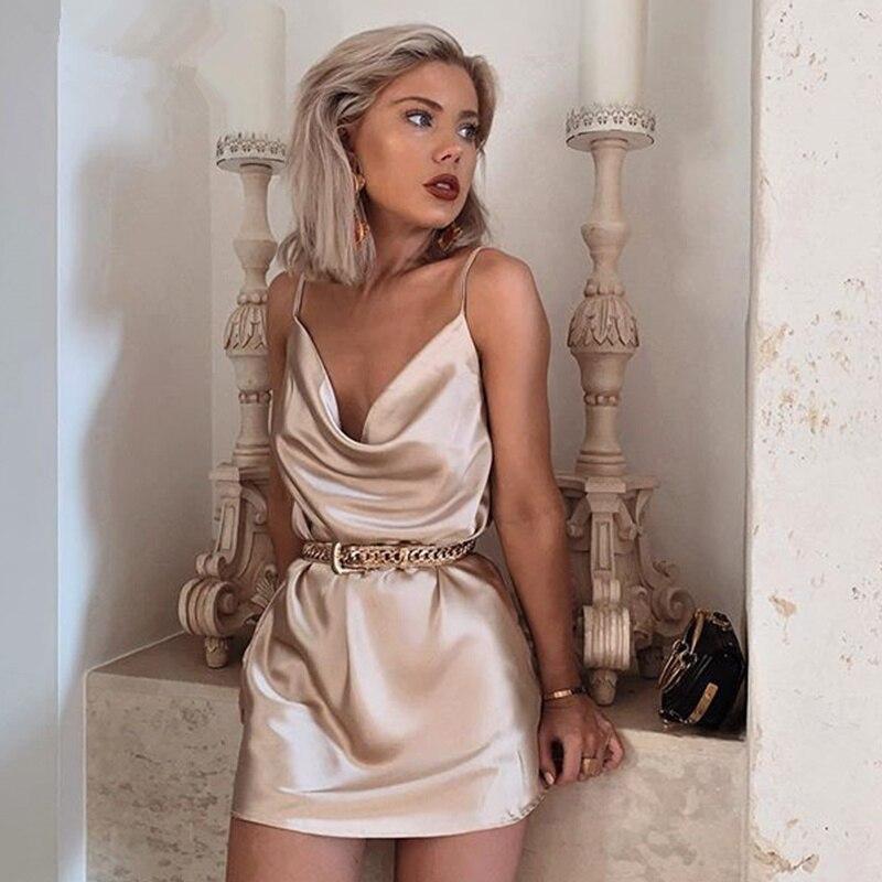 Sexy Spaghetti Strap Satin Dress Women Sleeveless Solid Sundress Dress 2020 Summer Mini Short A Line Party Dress Female Vestidos