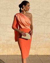¡Novedad de 2020! Túnica de soriee de manga larga, vestidos cortos de cóctel con capa, vestido Formal Sexy naranja con un hombro, vestidos de graduación