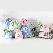 Femmes coton cordon sac à provisions Eco réutilisable pliant épicerie sous-vêtement en tissu pochette sac organisateur de voyage