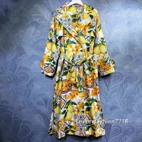 luxury design 2021 fashion women clothes branded vintage floral print belt waist long sleeves mid length trench coat coats s xl