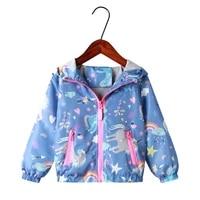 new spring autumn jacket girls coats hooded unicorn rainbow pattern baby girls clothes outerwear kids windbreaker girls jackets