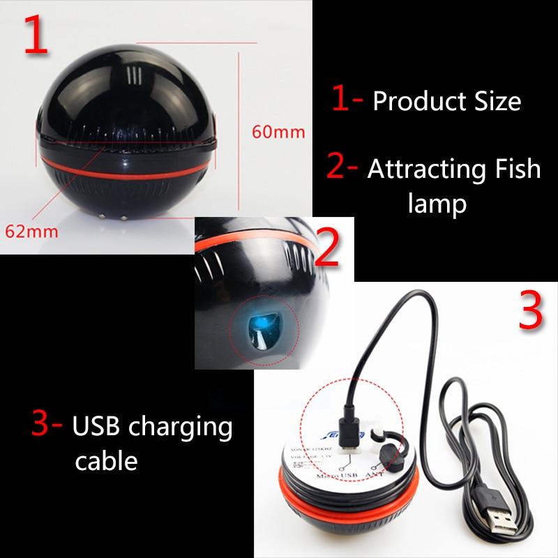 Smart Wireless Bluetooth Fish Finder 48m/160ft Ice Fishing Sonar Sounder Portable Fishfinder sonda de pesca Fish Lamp Sea Lake enlarge