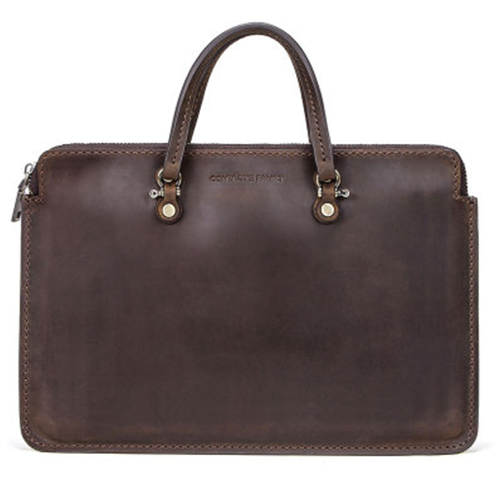 Classic retro Business affairs Leather Laptop Bag For Apple MacBook Pro15 Portable Zipper Notebook Leather Bag For MacBook Pro15 enlarge
