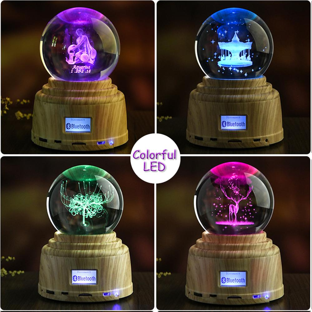 Personalized Photo Crystal Ball Custom Engraving Picture with  Bluethooth Music Led  Base Rotating Display RGB Remote Control enlarge