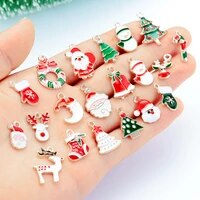 eamel charms pendant beads for jewelry making diy bracelet earrings xmas gift tree elk santa claus snowman christmas ornaments