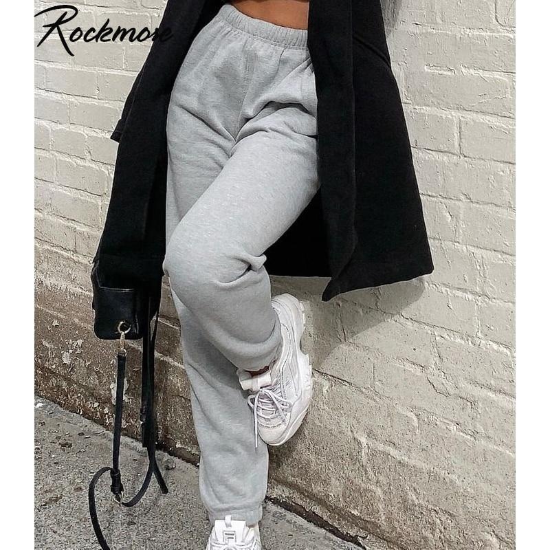 Rockmore-بنطلون رياضي نسائي ، بنطلون ركض رمادي ، ملابس الشارع ، فضفاض ، خصر مرتفع ، أبيض ، أرجل عريضة ، صيفي