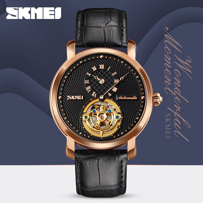 2021 Elegant Mechanical Watches Mens Clock Leather Strap Round Hollow Dial Automatic Wristwatches Men Male Reloj Hombre SKMEI