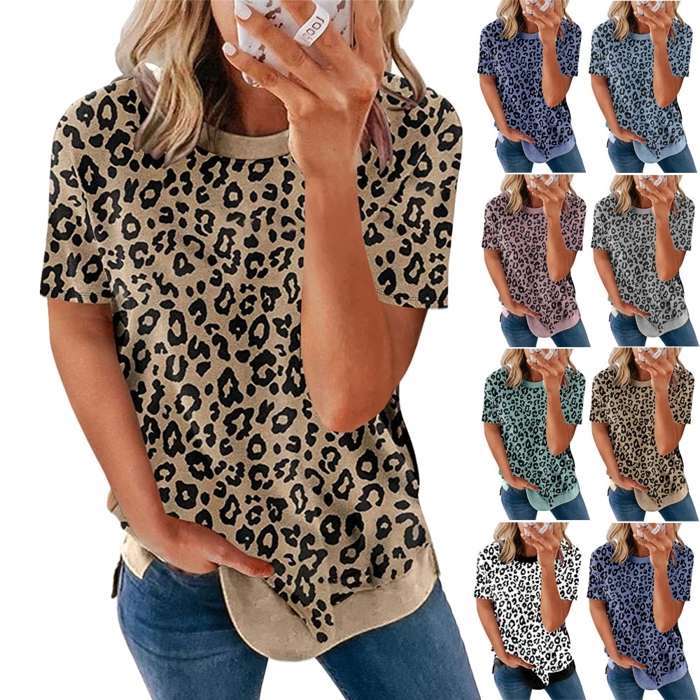 leopard print lace trim plus size tee New Fashion Summer Plus Size Loose Women  Round Neck Leopard Print Short Sleeve T-Shirt Top Casual  Tee Shirt