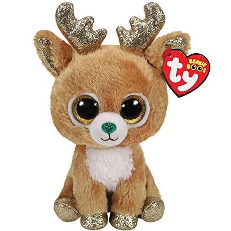 Ty Beanie Boos, большие глаза, блестящие рождественские плюшевый олень, мягкие игрушки, коллекционные декоративные куклы, подарок для детей 15 см