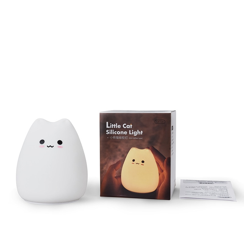 Cute LED Night Light Silicone Touch Sensor 7 Colors Cat Night Lamp Kids Baby Bedroom Desktop Decor Ornaments Battery/USB Charge enlarge