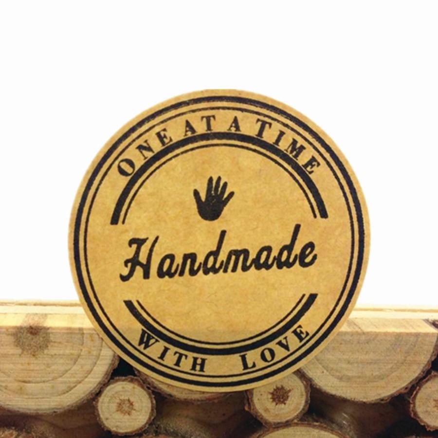 1000Pcs NEW fashion Kraft Handmade Hand Pattern Cowhide Stationery Sticker DIY Handmade Products free shipping